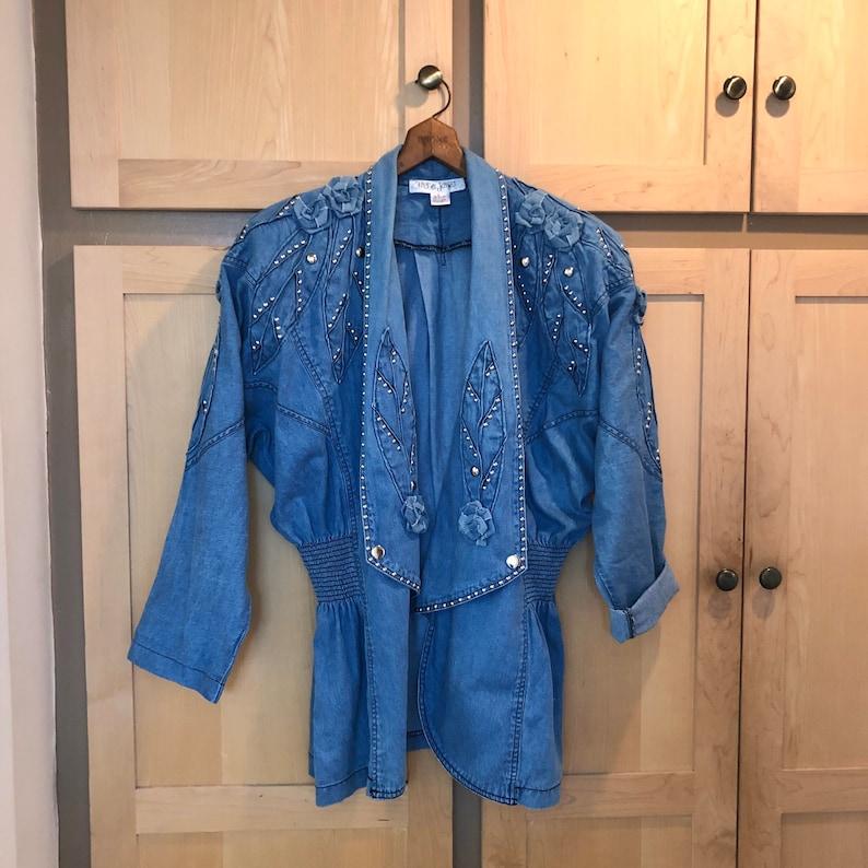 Oversized Jean Jacket Embellished Denim Jacket 80s Party image 0