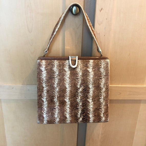 Vintage 50s Cowhide Pony Hair Purse Large Top Hand