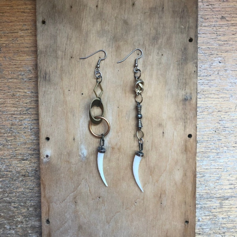 Horn Earrings Mismatched Earrings Eclectic Jewelry image 0