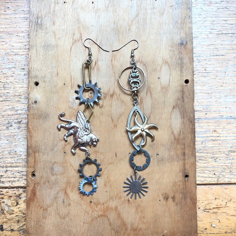Dangle Earrings Steampunk Jewelry Sustainable Fashion image 0