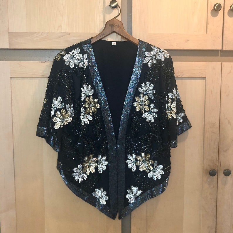 Vintage Sequin Jacket Sequined Clothing New Years Outfit image 0
