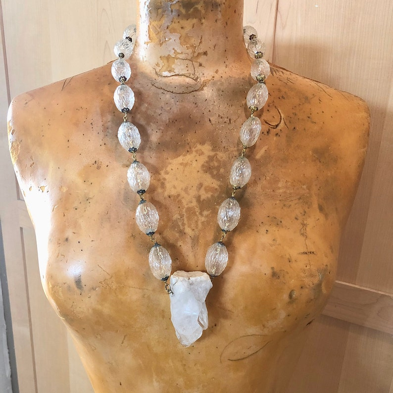 Large Crystal Necklace Vintage 40's Glass Beads image 0