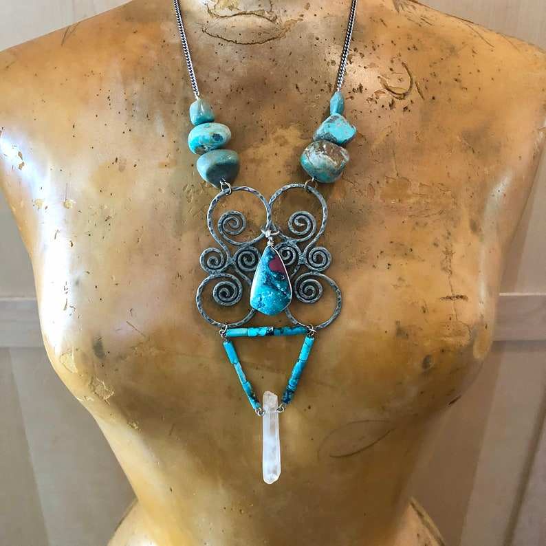 Large Turquoise Necklace Structural Statement Jewelry Unique image 0