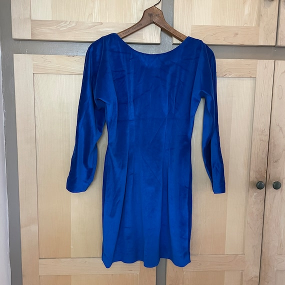 Bright Blue 80s Party Dress 1980s Clothing