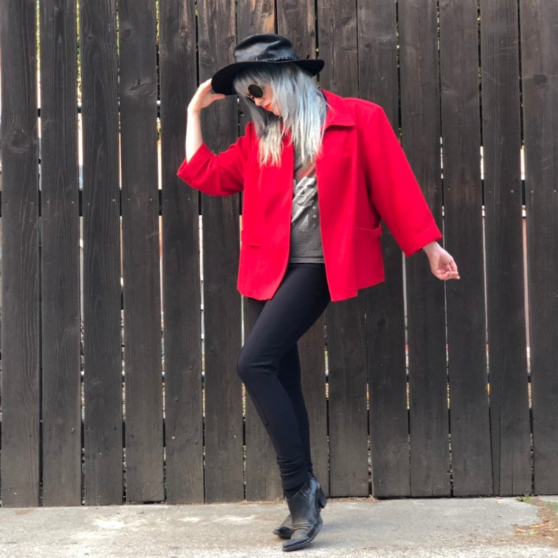 90s Red Crop Jacket 1990s Clothing XS SMALL image 0
