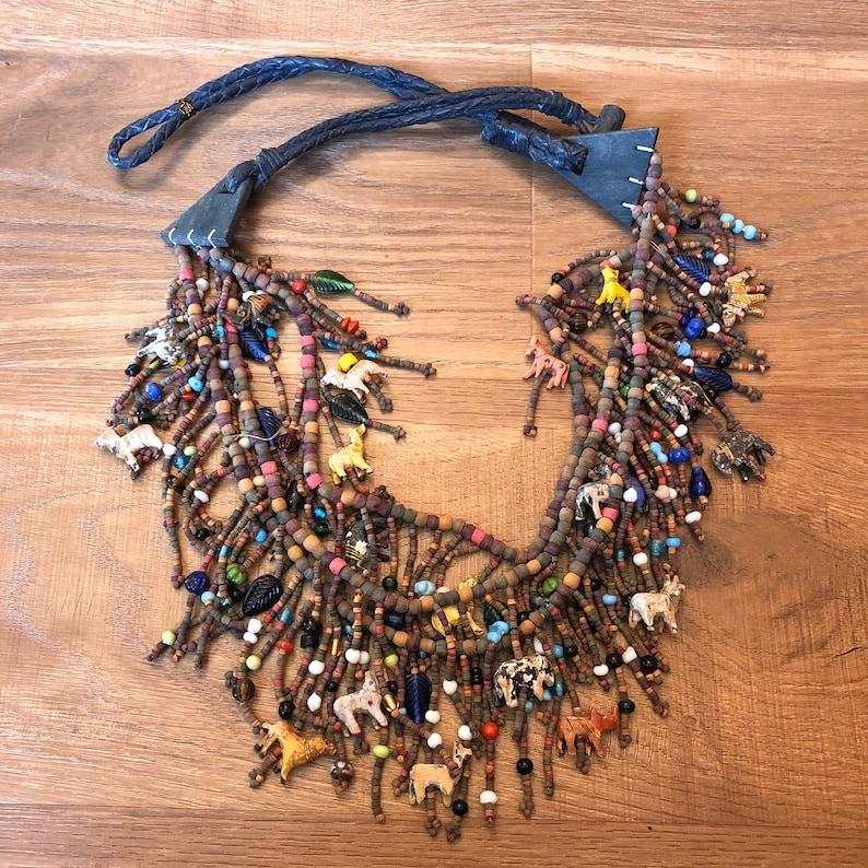 Boho Beaded Belt Vintage Bead Necklace Animal Beads image 0