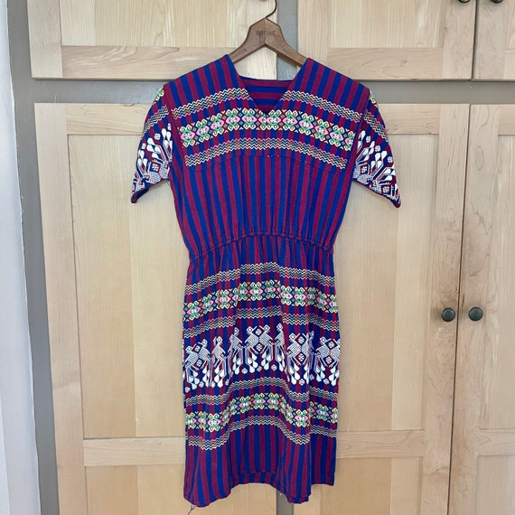 Vintage 1970s Embroidered Dress Hippie Clothing Bo