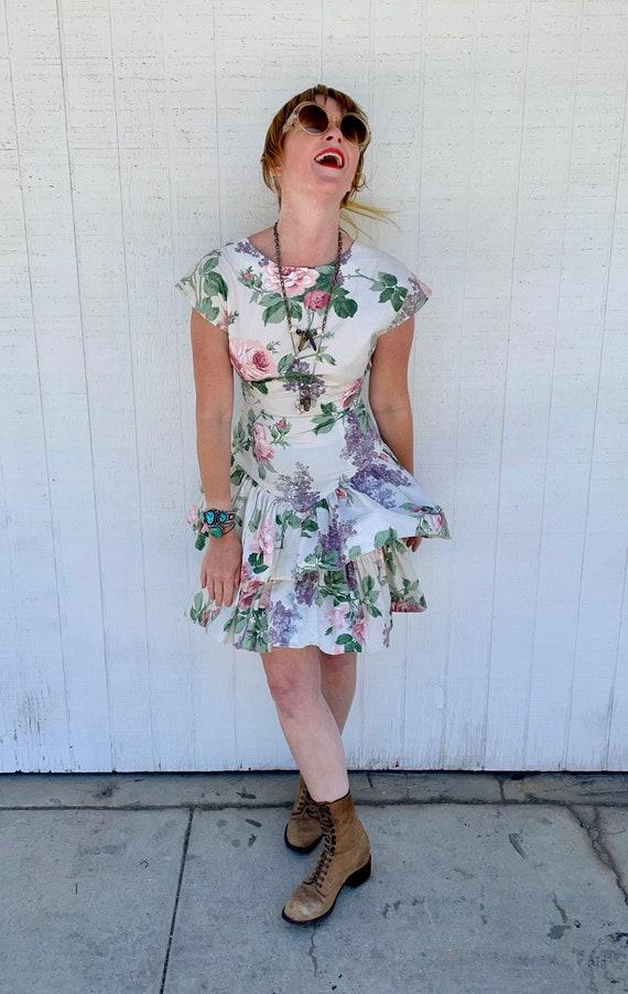 Vintage Cottagecore Mini Dress Grunge Fairycore C… - image 3