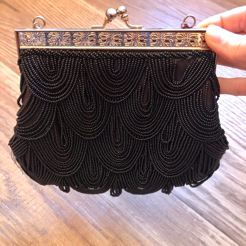 Vintage Black Beaded Bag Flapper Costume Great Gatsby Party image 0