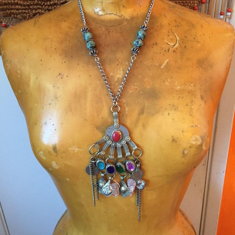 Large Pendant Necklace Turquoise Jewelry Festival Clothing image 0