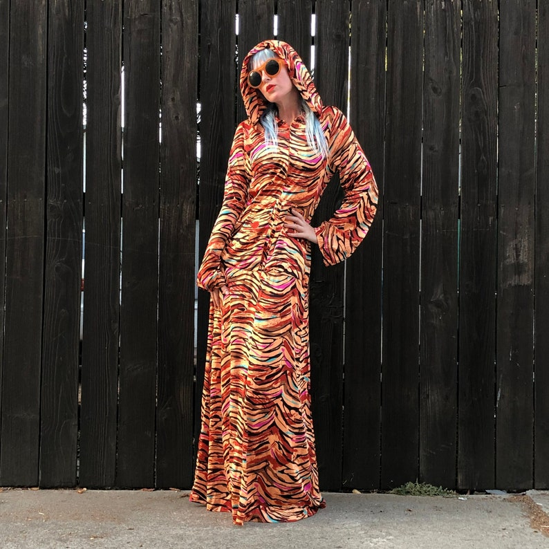 Animal Print Dress with Hood Hooded Maxi Festival Clothing image 0