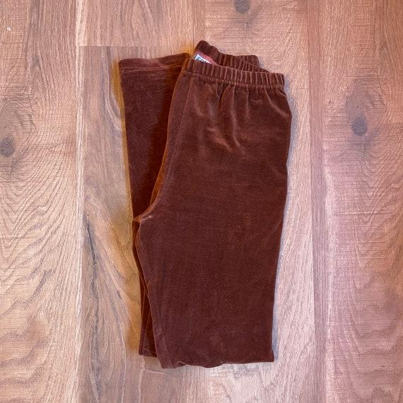 1990s Vintage High Waisted Brown Velvet Leggings 9