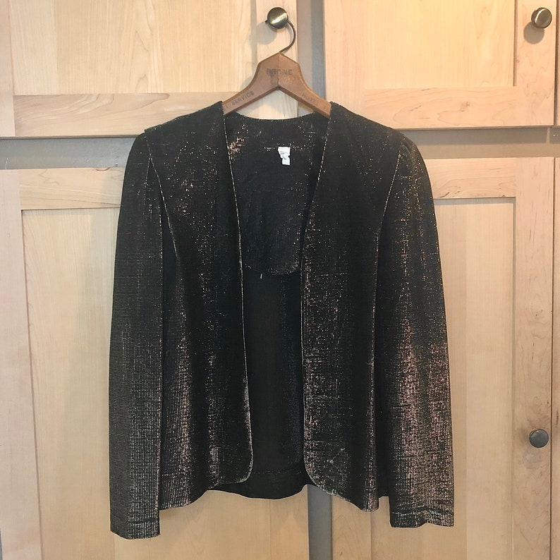 Sheer Metallic Gold Jacket 80s Party Festival Clothing image 0