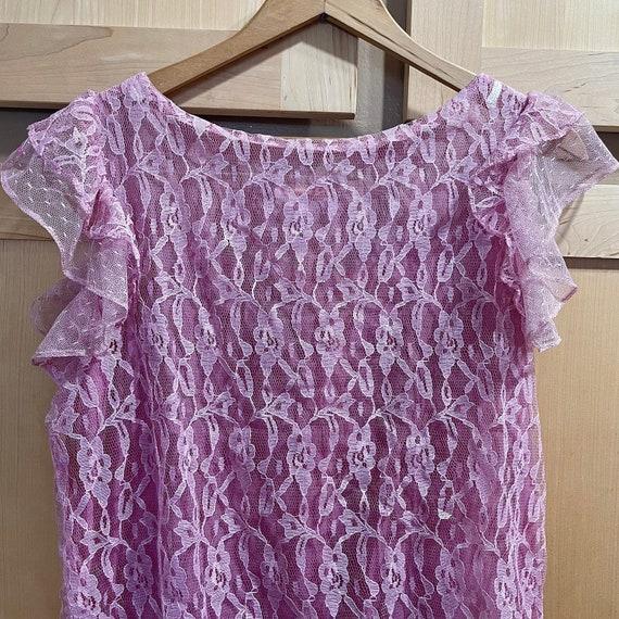 Vintage Pink Lace Dress Fairycore Clothing 1980s … - image 4