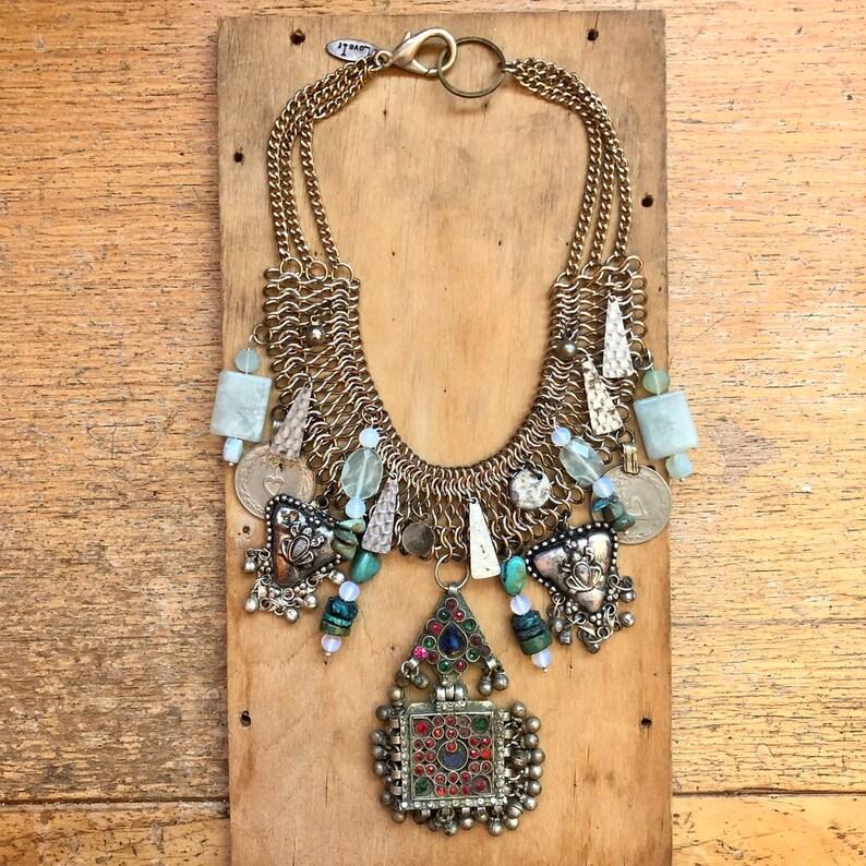 Bib Necklace Peruvian Opal Jewelry Slow Fashion image 0