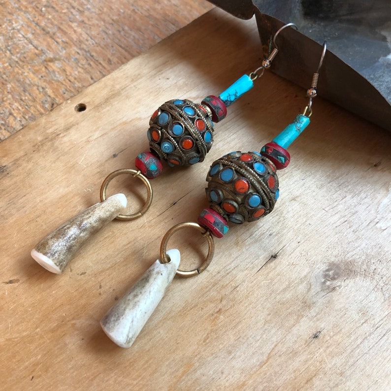 Horn Earrings Tribal Jewelry Exotic Gifts image 0