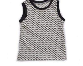 Monochrome Gender Neutral Tank Top - Baby Kid Toddler  Sleeveless Shirt - Tank Top
