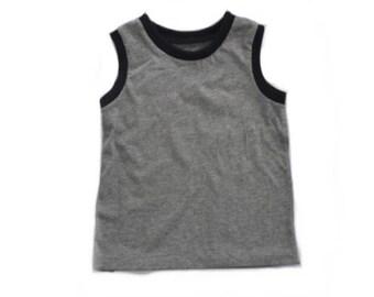 Gender Neutral Tank Top - baby kid toddler tank top - sleeveless shirt - grey and black tank top