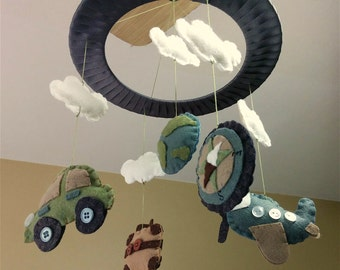 Baby Crib Mobile // Travel Baby Mobile // Cars and Planes Mobile // Baby Gifts // Nursery Decor // Baby Shower