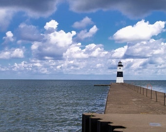 Lake Erie Lighthouse - Fine Art Photo - Lighthouse Photo - Lake Erie - Home Decor - Office Decor - Great Lake - Pier - Clouds - Blues