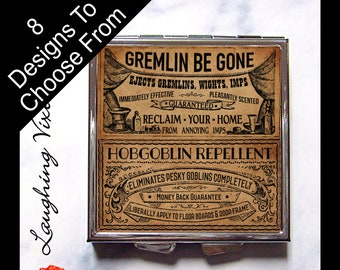 Ghoul Cures Compact Mirror - Pill Box - Witch Pill Case - Horror Magic Potion Label - Witch Spell - Magic Spell - Makeup Mirror - GC B