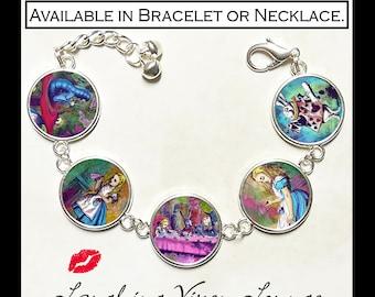 Alice In Wonderland Jewelry - Alice In Wonderland Bracelet - Alice In Wonderland Necklace - Mad Hatter - White Rabbit - Alice Psychedelic