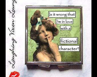 Compact Mirror - Book Lover Gift Pill Box -  Pill Case - Purse Mirror - Bag Mirror - Makeup Mirror - SVL Fictional Character