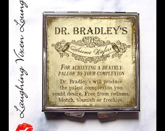 Poison Label Pill Box - Arsenic Compact Mirror - Magic Potion Label - Pill Case - Makeup Mirror - Purse Mirror - Arsenic Wafers