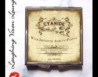 Poison Label Pill Box - Cyanide Compact Mirror - Magic Potion Label - Pill Case - Pill Holder - Purse Mirror - Hand Mirror - Makeup Mirror