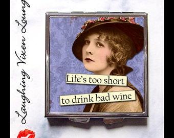 Funny Pill Box - Wine Gift Compact Mirror - Pill Case - Purse Mirror - Bag Mirror - Pill Holder - Makeup Mirror -  SVL Bad Wine