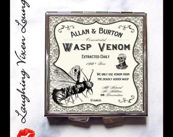 Magic Potion Label Pill Box - Compact Mirror - Pill Case - Witch Spell - Purse Mirror - Makeup Mirror - Wasp Venom