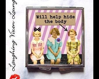 Pill Box - Compact Mirror - Girlfriends Gift - Pill Case - Best Friend Gift - Purse Mirror - Makeup Mirror - VBF Help Hide