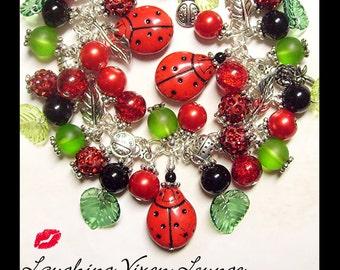 Garden Jewelry - Ladybug Jewelry - Garden Bracelet - Ladybug Bracelet - Ladybug Necklace - Ladybug Charm Bracelet Full - Garden Necklace