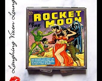 Sci Fi Pill Box - Pulp Compact Mirror - Pill Case - Purse Mirror - Vintage Science Fiction - Diaper Bag Mirror - Rocket To The Moon