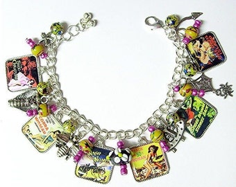 I Am Woman Vintage Horror Film Charm Bracelet Made By Laughing Vixen Lounge. Featuring Attack Of The 50 Ft. Woman, She Devil Island, The Wasp Woman And More