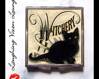 Witch Pill Box - Black Cat Compact Mirror - Pill Case - Purse Mirror - Diaper Bag Mirror - Hand Mirror - Makeup Mirror - Witchery