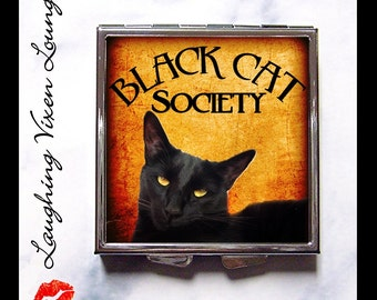Black Cat Pill Box - Black Cat Society Compact Mirror Style-A - Black Cat Mirror - Witch Mirror - Halloween Wiccan Wicca - Pillbox Pill Case