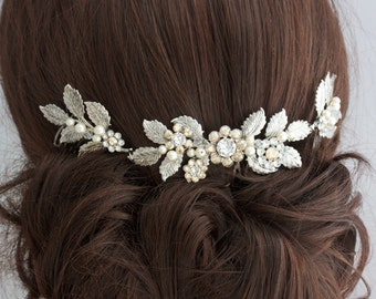 Antique Silver Wedding Hair Accessory, Leaf Hair Vine Headpiece, Bridal Hair Comb, Bridal Hair Accessory, Vintage Rustic Weddings STACEY