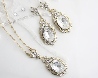 Gold Wedding Jewelry set Gold Necklace and Earrings Crystal Pendant Necklace Crystal Drop Earrings Gold Bridal Jewelry RYAN