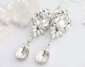 Delicate Bridal Earrings, Elegant Crystal Drop Wedding Jewelry for Bride, Classic Teardrop, Fairytale Wedding, EDITH