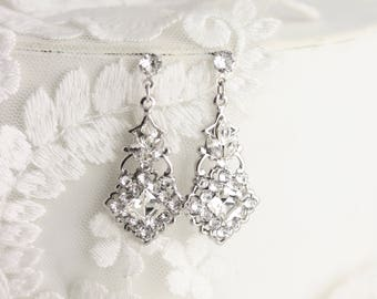 Bridal Earrings Small Swarovski Crystal Earrings Art Deco Style Silver Wedding Jewelry  KATRINA