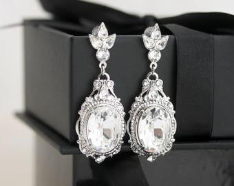 Bridal Earrings, Large Crystal Wedding Earrings, Silver Wedding Jewelry, Swarovski Crystal Jewellery For Bride, Statement Earrings  RYAN