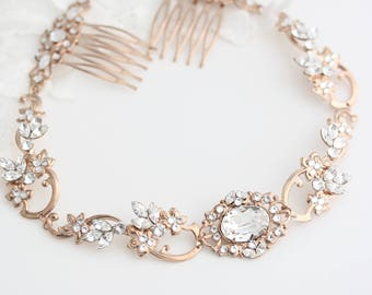 Halo Headpiece Rose Gold Wedding Forehead Band for Brides Swarovski Crystal Showstopper Head Jewelry Veil Alternative   RYAN