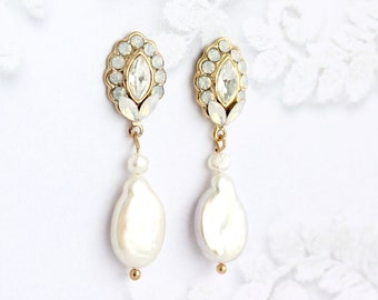 Pearl Dangle Earrings, Gold Natural Pearl Jewllery for Weddings, Classic Bridal Earrings, Boho Brides, Gift for MOH,   LEILANI