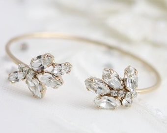 Bridal Wedding Bracelet Crystal Open Cuff  Bracelet Rose Gold or Yellow Gold Swarovski Rhinestone Bridesmaids Jewelry SOPHIE