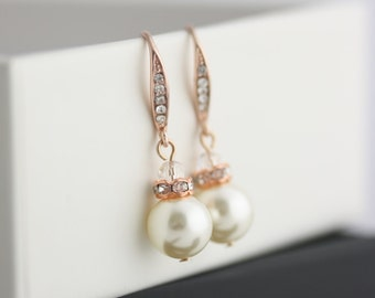 Simple Bridal Earrings, Pearl Earrings, Stack Pearl Bridesmaid Earrings, Delicate Bride Jewelry,  NEVE HOOK