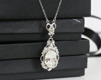 Pendant Bridal Necklace Swarovski Crystal Simple Wedding Necklace Vintage necklace Rhinestone Wedding jewelry RYAN PENDANT