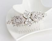 Bridal Comb Crystal Hair Comb Rhinestone Headpiece Wedding Hair Accessories Swarovski Veil Clip Art Deco Elegant Modern Brides  EVIE