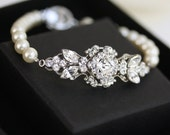 Pearl Bridal Bracelet Wedding Jewelry Swarovski Crystal Bracelet Handmade Vintage style Art Deco Bridal Gift for Bridesmaids KATRINA PEARL