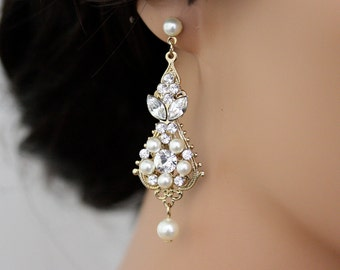 Pearl and crystal wedding earrings vintage bridal earrings gold wedding earrings chandelier earrings vintage bridal earrings ivory white pearl crystal wedding jewelry paris aloadofball Image collections